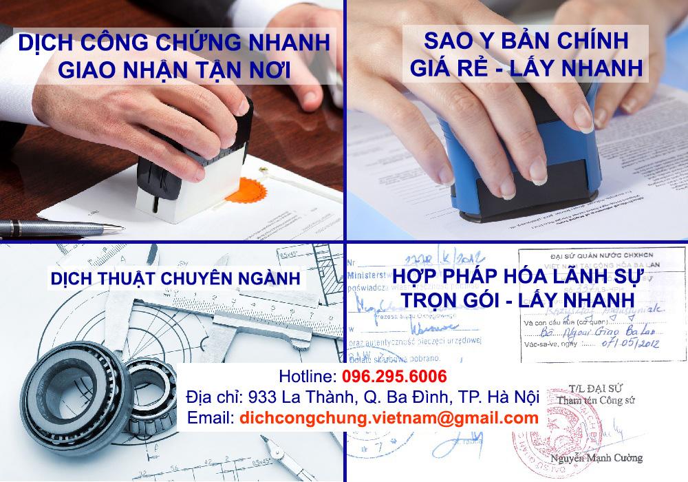dịch thuật công chứng sao y bản chính hợp pháp hóa lãnh sự dịch thuật chuyên ngành tại Hà Nội