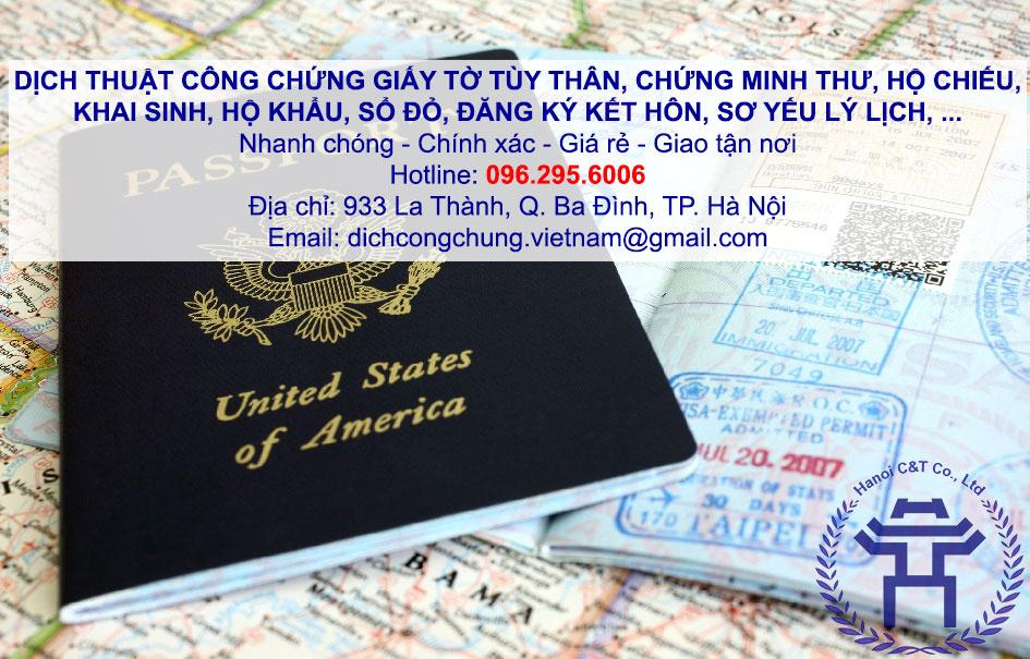 dịch thuật công chứng giấy tờ tùy thân khai sinh hộ khẩu chứng minh thư sổ đỏ đăng ký kết hôn tại hà nội