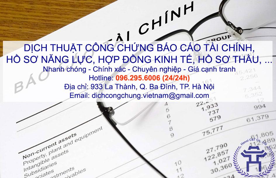 dịch thuật công chứng báo cáo tài chính, hồ sơ năng lực công ty lấy nhanh tại Hà Nội