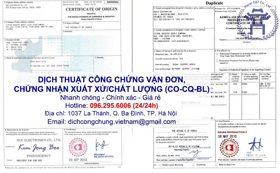 dịch thuật công chứng chứng nhận xuất xứ chứng nhận chất lượng vận đơn CO CQ BL nhanh tại Hà Nội