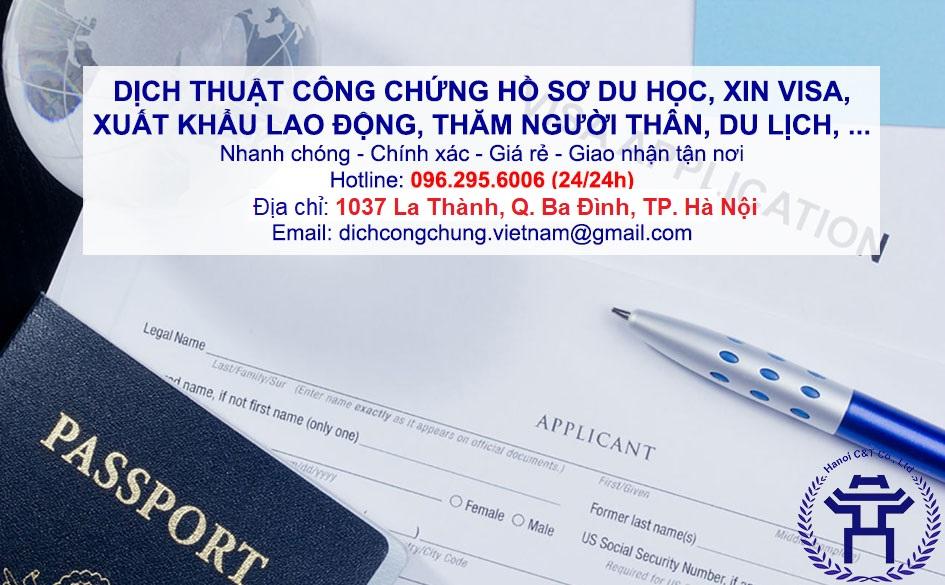 dịch thuật công chứng hồ sơ du học, xin VISA, xuất khẩu lao động lấy nhanh giá rẻ tại Hà Nội sao y bản chính chứng thực bản sao nhanh giá rẻ