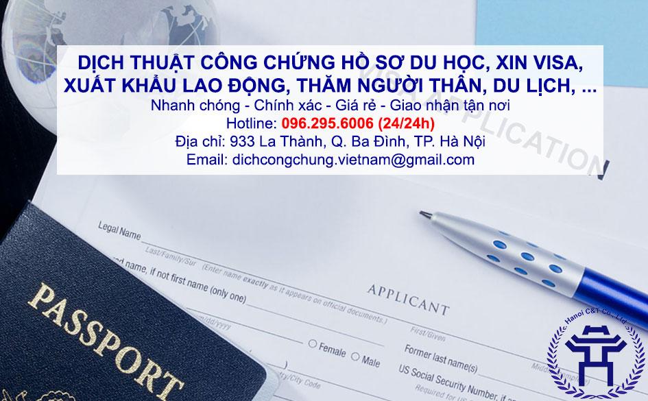 dịch thuật công chứng hồ sơ du học, xin VISA, xuất khẩu lao động lấy nhanh giá rẻ tại Hà Nội