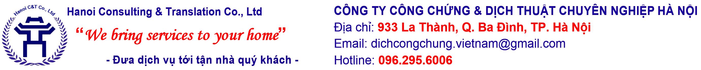 Công ty Dịch vụ Công chứng & Dịch thuật Chuyên nghiệp Hà Nội