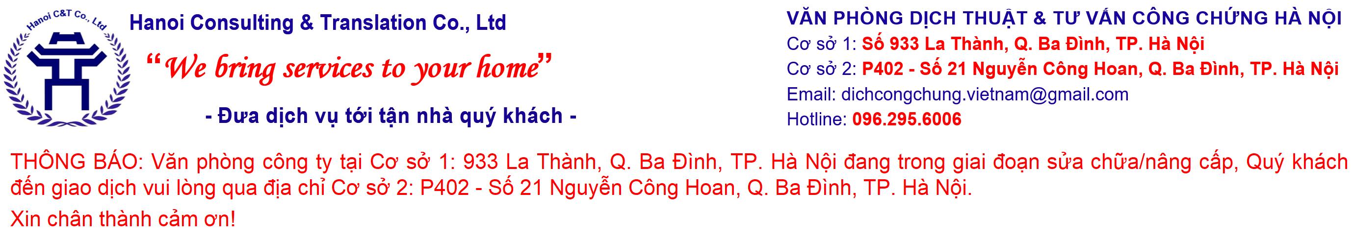 Văn phòng Dịch thuật & Tư vấn Công chứng Hà Nội