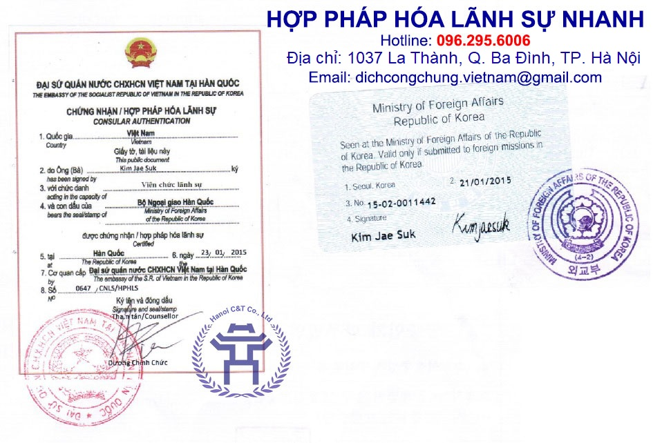 dịch vụ hợp pháp hóa lãnh sự nhanh tại Hà Nội giá rẻ