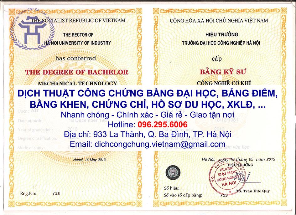 dịch thuật công chứng bằng đại học bảng điểm giấy khen chứng chỉ tại hà nội