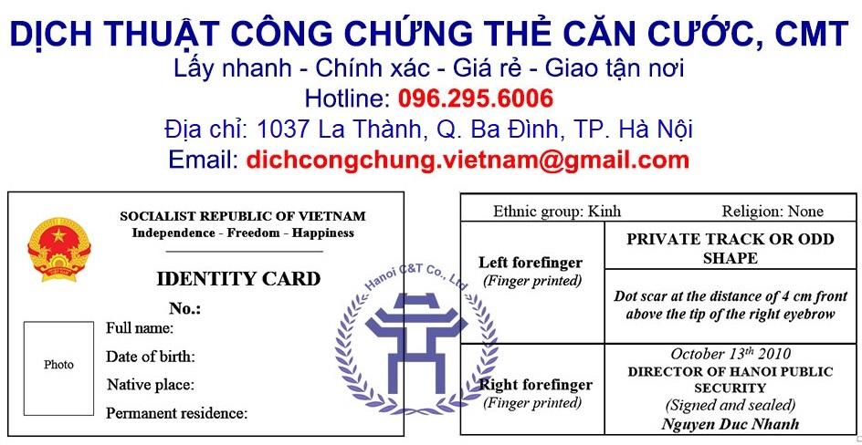 sao y bản chính chứng thực bản sao dịch thuật công chứng chứng minh thư, căn cước nhanh tại Hà Nội