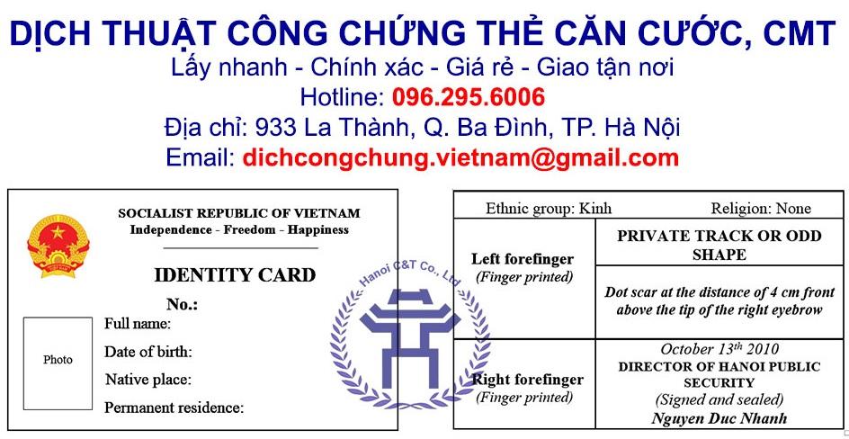 dịch thuật công chứng chứng minh thư, căn cước nhanh tại Hà Nội