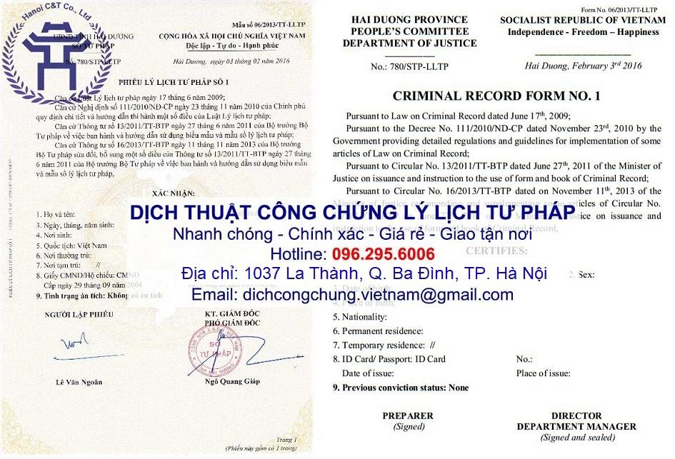 sao y bản chính chứng thực bản sao dịch thuật công chứng lý lịch tư pháp tại Hà Nội