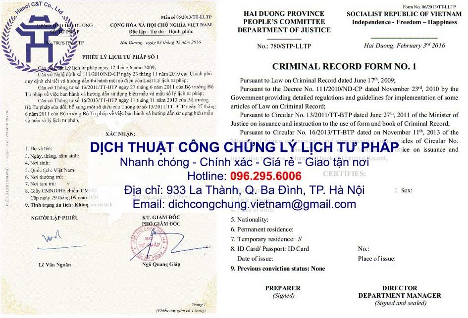 chứng thực bản sao dịch thuật công chứng lý lịch tư pháp tại Hà Nội
