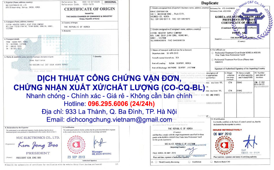 dịch thuật công chứng chứng nhận xuất xứ, chứng nhận chất lượng, vận đơn CO CQ BL nhanh tại Hà Nội