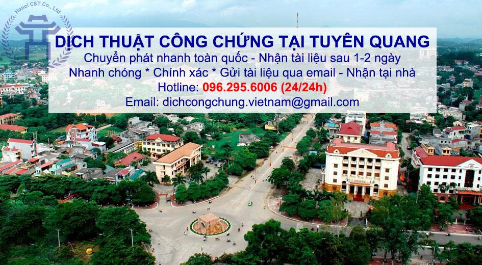 dịch thuật công chứng lấy nhanh giá rẻ giao tận nơi tại Tuyên Quang